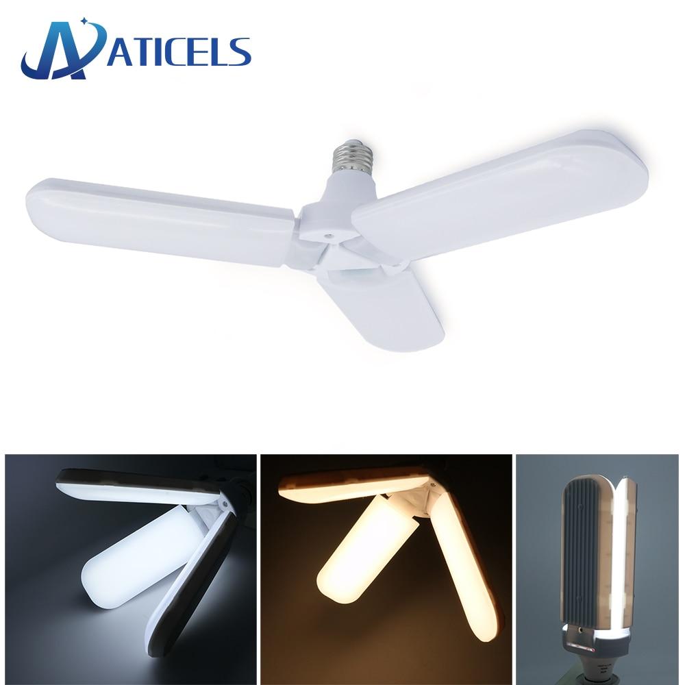 96-265V E27 LED Bulb 45W Foldable Fan Blade LED Lamp Pendant Light Super Bright for Indoor Home Ceiling Light