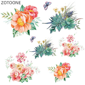 ZOTOONE Iron on Flower Stickers Patches for Clothing Heat Transfers DIY Succulent Plants Patch for Kids Washable Appliques D image