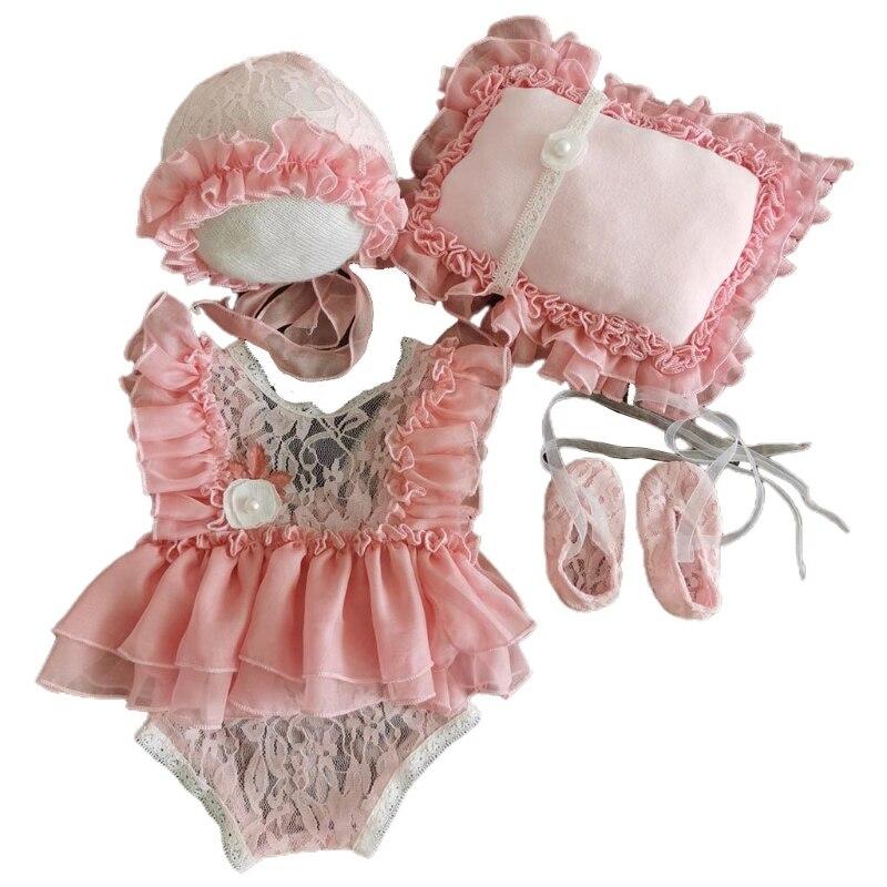 5Pcs Baby Lace Dress+Hat+Pillow+Shorts+Shoes Set Infants Photo Shooting Costume Outfits Newborn Photography Props
