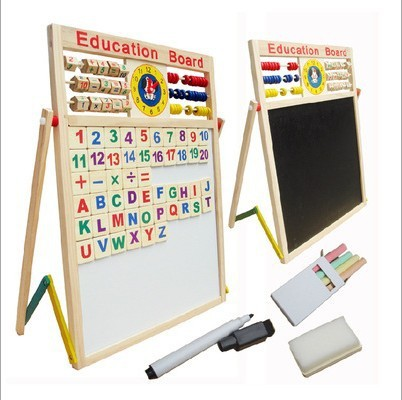 Wooden Toys Children Double-Sided Magnetic Drawing Board Educational Beads Drawing Board