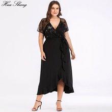 Женское летнее Повседневное платье размера плюс с v образным