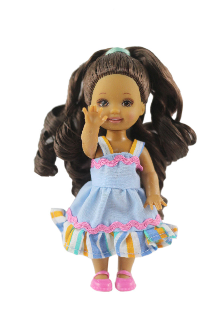 NK One Pcs Cute Mini Doll Dress Daily Wear Gown Clothes For Barbie Sister Kelly Doll Accessories Dollhouse Toys 08A 2X