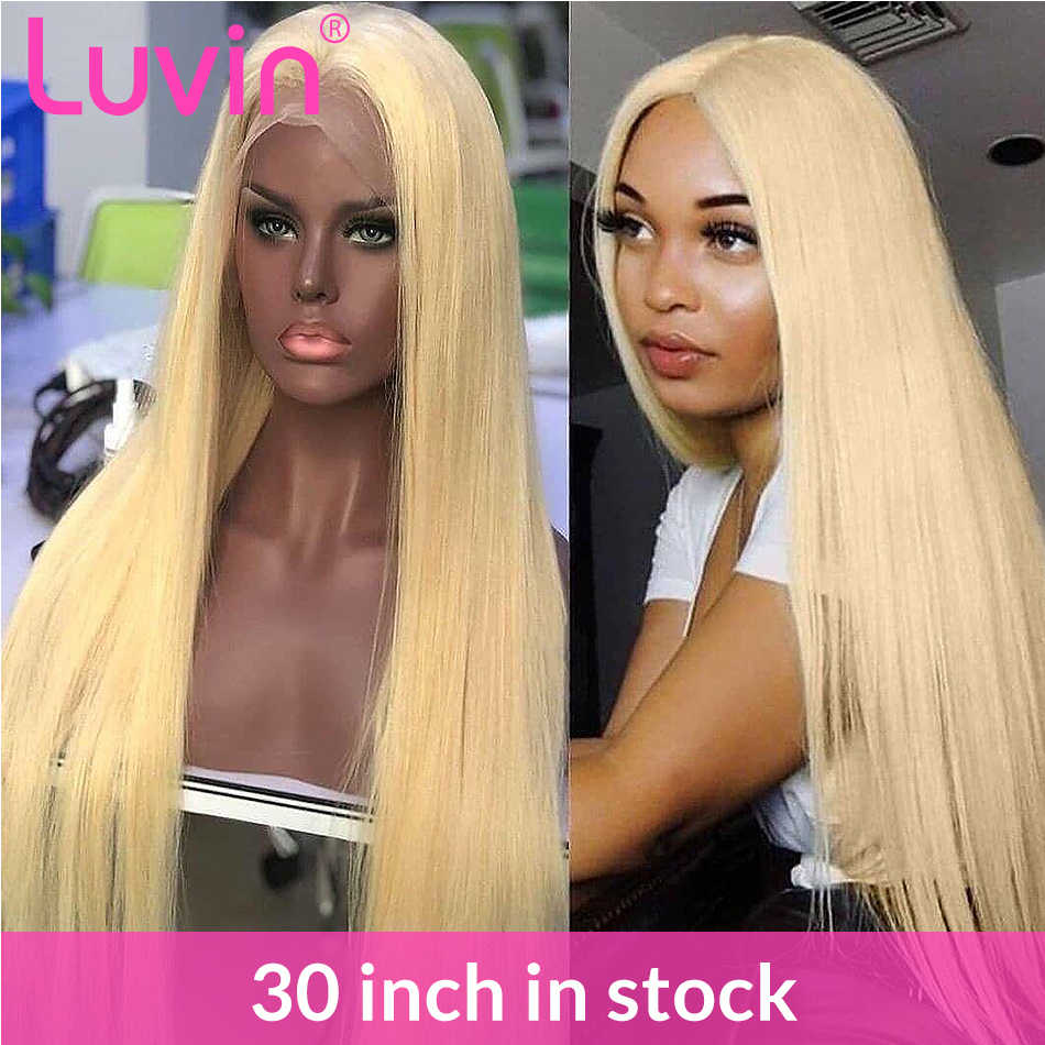 28 30 inch HD Transparent 613 Blonde Lace Front Human Hair Wigs Glueless Lace Frontal Wig Pre Plucked With Baby Hair Straight