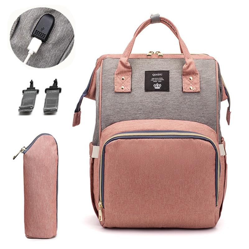 Fashion Mummy Maternity Nappy Bag USB Brand Large Capacity Baby Bag Travel Backpack Designer Nursing Bag For Baby Care Mummy Bag