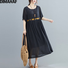DIMANAF Plus Size Women Dress Vintage Summer Sundress Elegant Lady Vestido Embroidery Floral Female Clothing Loose Pleated Dress(China)