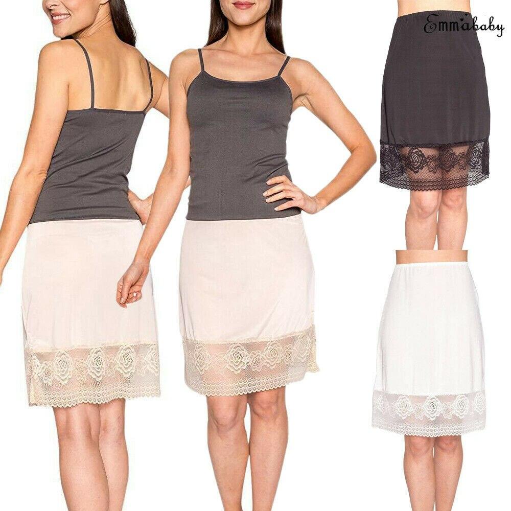 Women's Lace Floral Slip Skirt Extender A-Line High Waist Half Slips Skirts Lengthen Petticoat Underskirt Intimate Ladies
