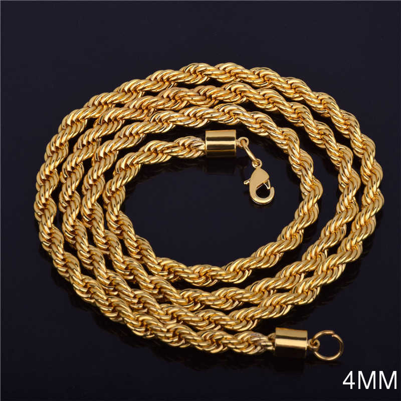 2019 Hot sale Retail Wholesale Long Gold-Color Man necklace 4mm 16,18,20,22,24,26,28,30 inch Twist Rope Chain jewelry accesory