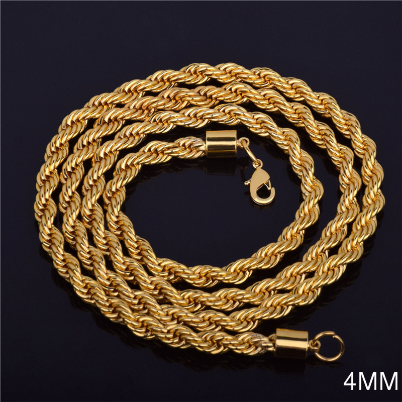 2021 Hot sale Retail Wholesale Long Gold-Color Man necklace 4mm 16,18,20,22,24,26,28,30 inch Twist Rope Chain jewelry accesory