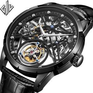 GIV Tourbillon Men Watch Sapphire Double-Skeleton Luxury Original Top-Brand Clock Masculino