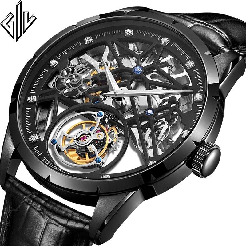 2020 New Model GIV Original Tourbillon Men Watch Top Brand Luxury Double Skeleton Sapphire Man Clock Relogio Masculino