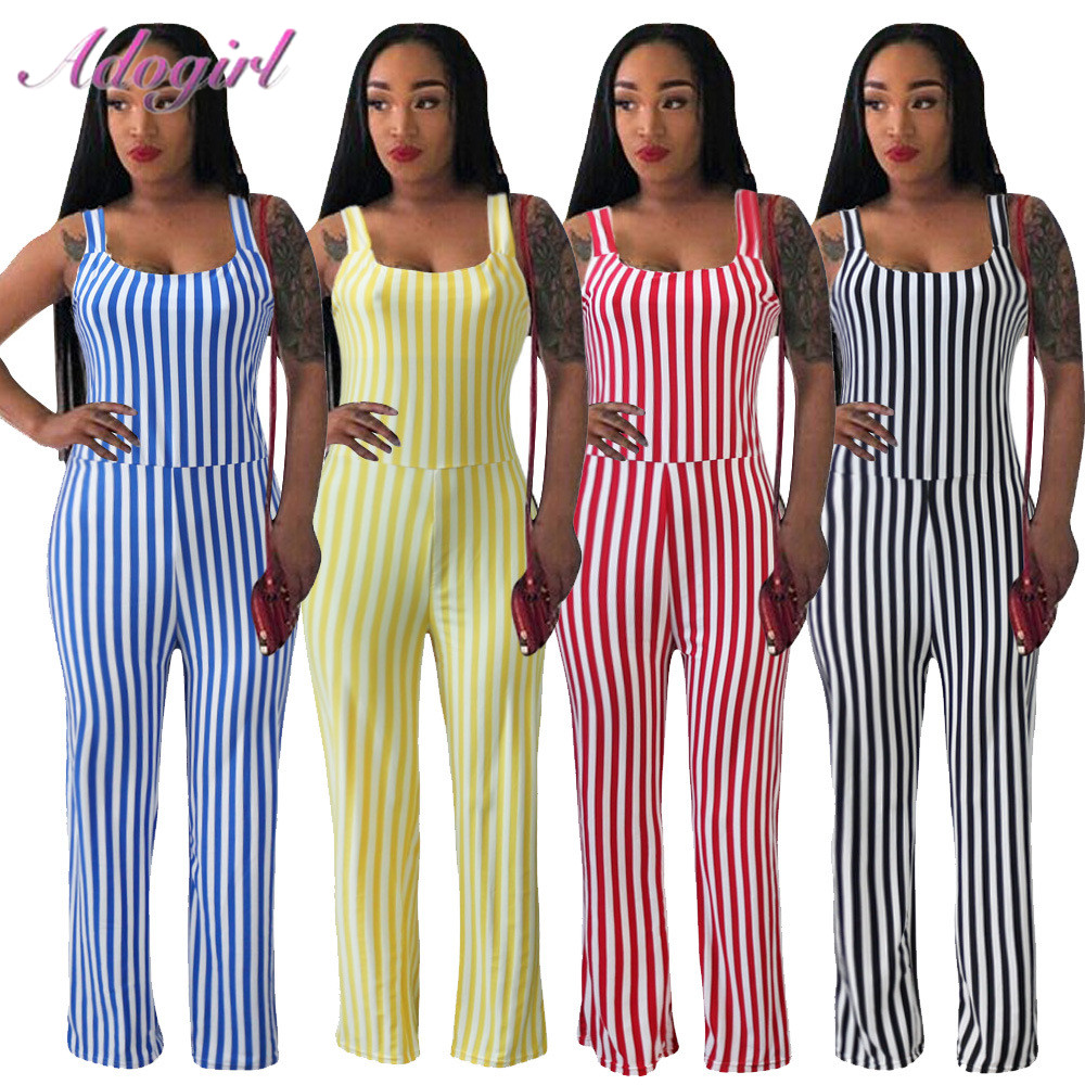 Sexy Stripe Spaghetti  Strapless Backless Night Party Club Jumpsuit Women Summer Sleeveless Outfit Streetwear Rompers Overalls