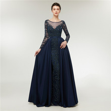 Luxury Navy Beaded Evening Dresses Long Sexy See Through A Line Formal Dress Women Elegant Evening Party Dresses Plus Size 2019