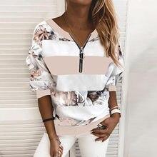 40 # vintage blusas tamanhos grandes mulheres listrado impressão costura zíper manga comprida pulôver camisetas blusas mujer de moda 2020