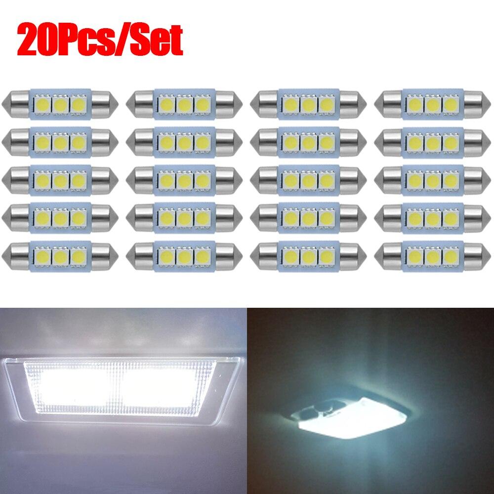20 unids/set C10W bombillas LED C10W luces de techo de coche Auto Festoon lámpara de placa de matrícula 31mm 36mm 39mm 41mm Puerta de coche luz luces de lectura
