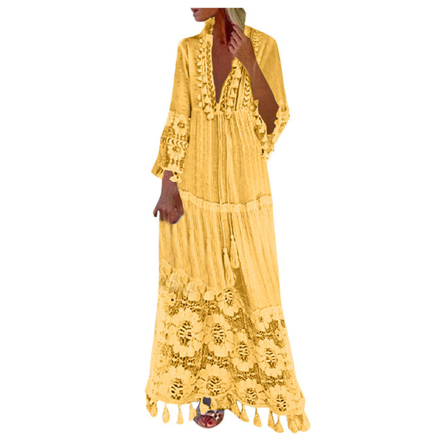 2021 Fashion dresses Casual outfits Bohemian Large Size V-Neck robe clothes Solid Color Lace Tassel Long dress New Design 3