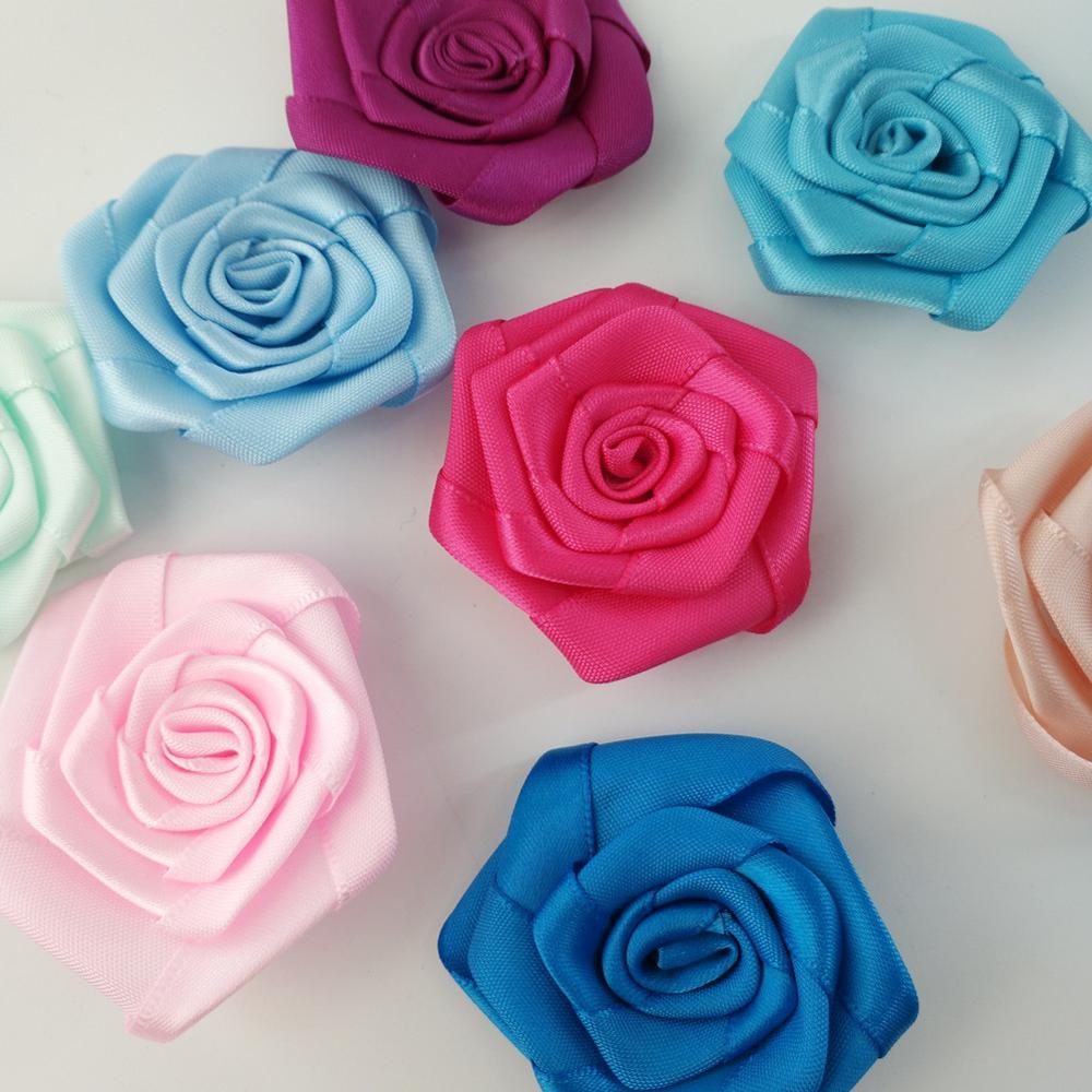 10pieces lot 36 Color Handmade 5 5cm Satin Rose Ribbon Artificial Flowers Scrapbooking Wedding Appliques DIY Sewing Accessories in Artificial Dried Flowers from Home Garden