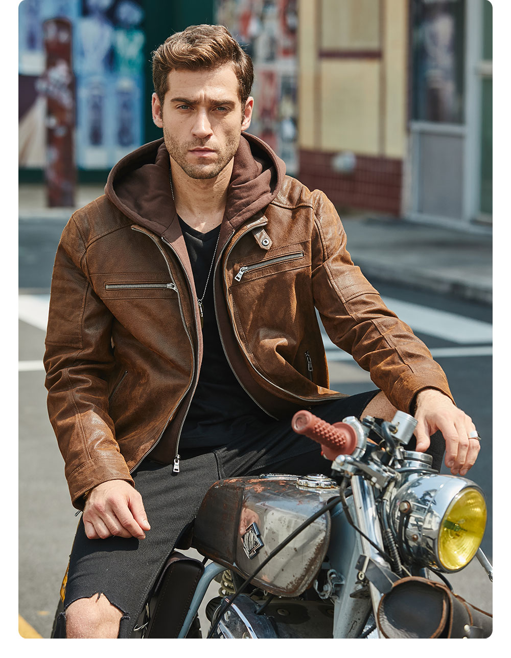 H6f512d7d5d514895b14480cc3bd8678a6 New Men's Leather Jacket, Brown Jacket Made Of Genuine Leather With A Removable Hood, Warm Leather Jacket For Men For The Winter
