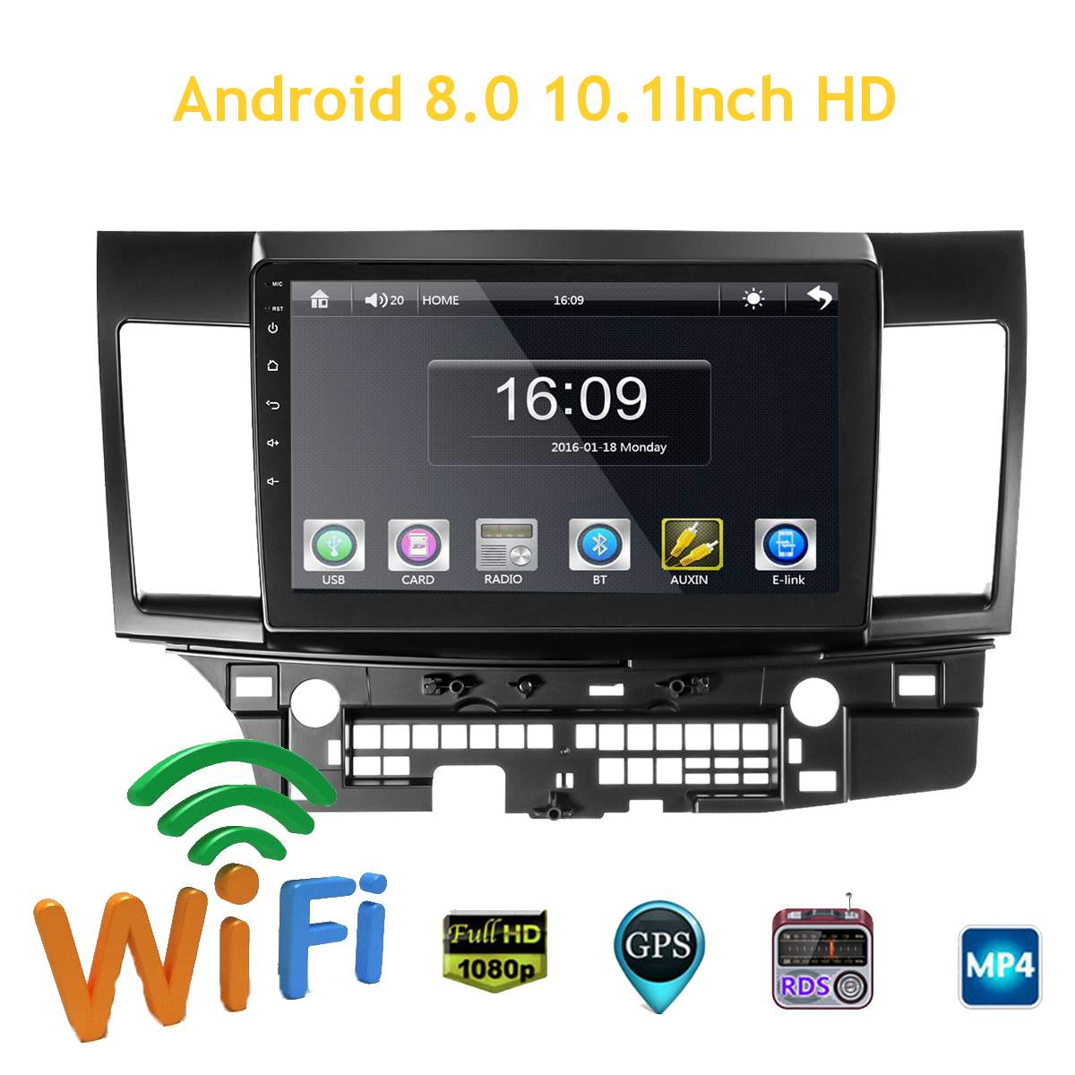 10.1 Inch 2 DIN for Android 8.0 Car Stereo 2+32G Quad Core MP5 Player GPS WIFI FM AM Radio for Mitsubishi Lancer Car Multimedia image