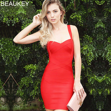 BEAUKEY حجم كبير XL فستان صيفي المرأة مثير أحمر حار الوردي ضمادة فستان Vestido السيدات أنيقة مصمم Bodycon فستان حفلة صغيرة
