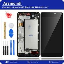 """لنوكيا Lumia 650 RM 1154 RM 1152 5.0 """"LCD عرض تعمل باللمس محول الأرقام الجمعية مع الإطار لمايكروسوفت 650 شاشات الكريستال السائل + هدية"""