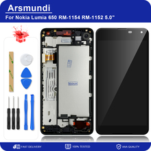 "Nokia Lumia 650 RM 1154 RM 1152 5.0 ""LCD 디스플레이 터치 스크린 디지타이저 어셈블리 (Microsoft 650 LCD + 선물용 프레임 포함)"