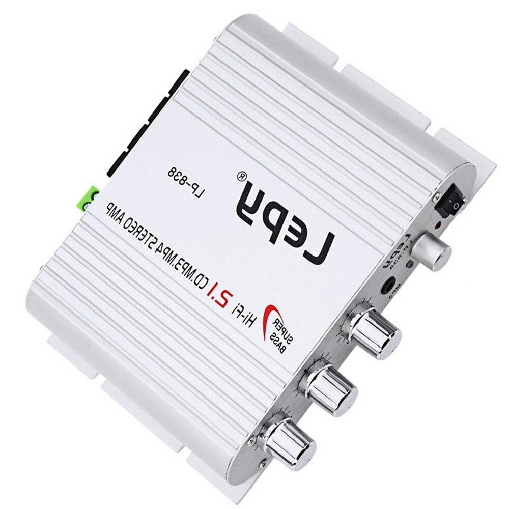 New 2.1 Channel 12V HI-FI Digital Hi-Fi Car Amplifier LP-838 CD MP3 Player Car Accessories Small Power Amplifier