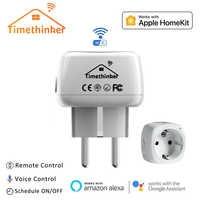 Timethinker 2 Pcs Smart WiFi Buchse für Apple Homekit UNS EU Stecker für Alexa Google Home Siri Stimme Fernbedienung timer Modul