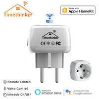 Timethinker 2 Pcs Smart WiFi Socket for Apple Homekit US EU Plug for Alexa Google Home Siri Voice Remote Control Timer Module