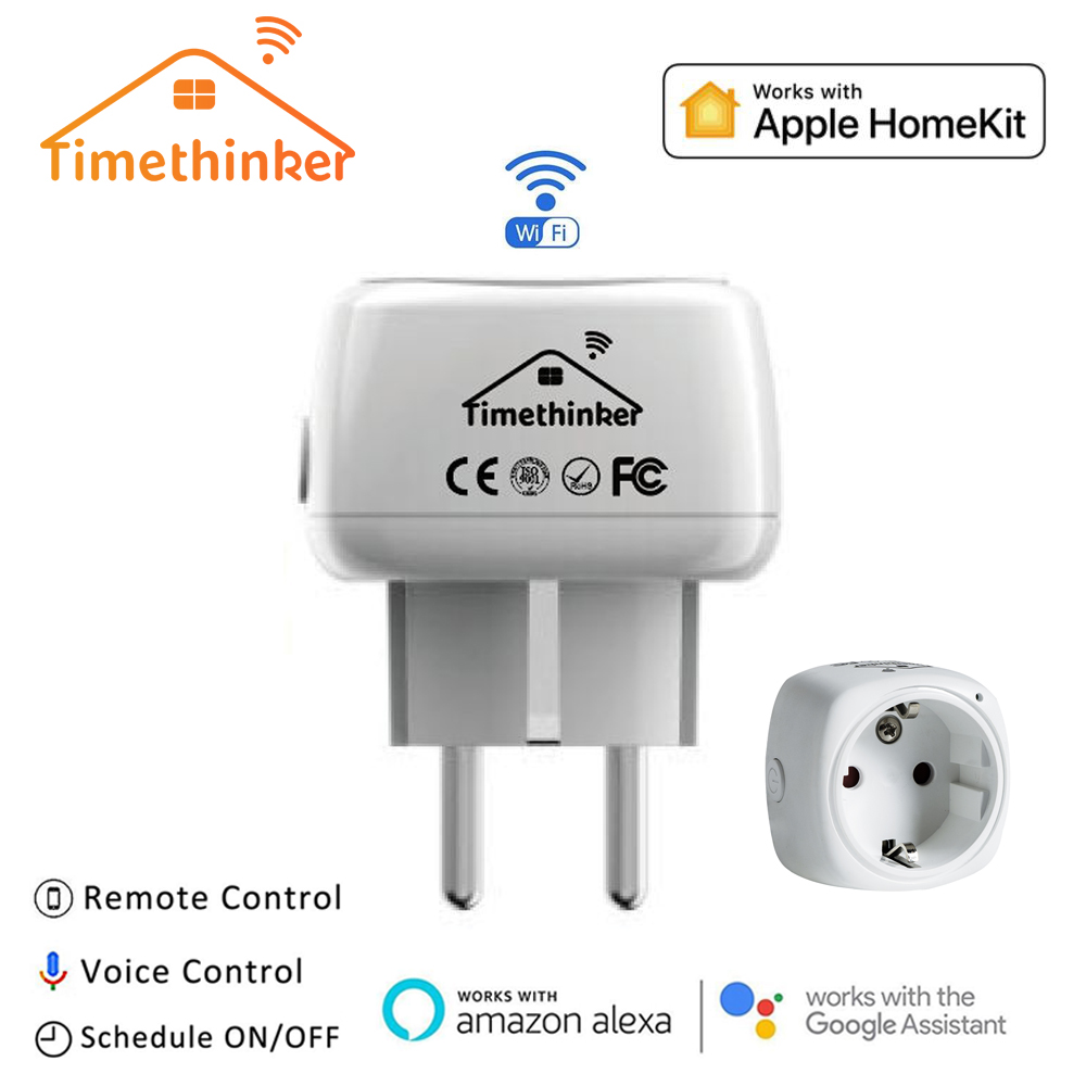 Timethinker Smart WiFi Socket for Apple Homekit Intelligent US EU Plug for Alexa Google Home Siri Voice APP Timer Remote Control