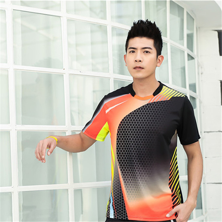 Быстросохнущая, впитывающая пот и дышащая рубашка для бадминтона, топ для соревнований, тренировочный костюм для бега, мужской и женский короткий рукав - Цвет: 1813Amale2
