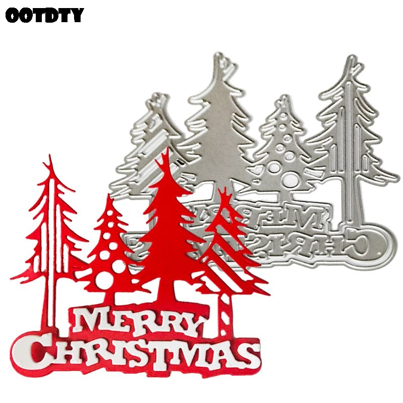 Merry Christmas Tree Metal Cutting Dies Stencil Scrapbooking Album Stamp Paper Card Embossing Decor New Dies For 2020