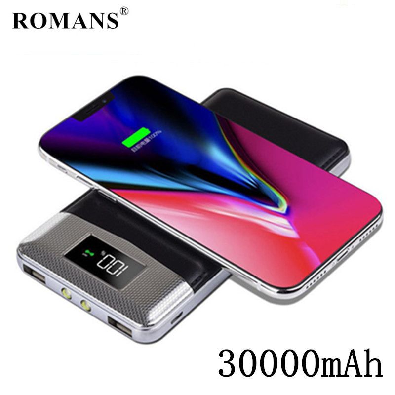 TOP 30000mAh QI Wireless Charger Power Bank For iPhone Samsung mi Powerbank Dual USB Charger Wireless External Battery poverbank image