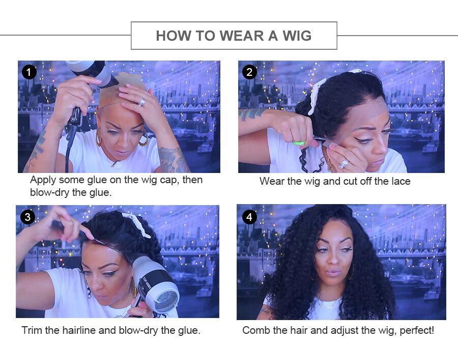 Frente do laço perucas de cabelo humano