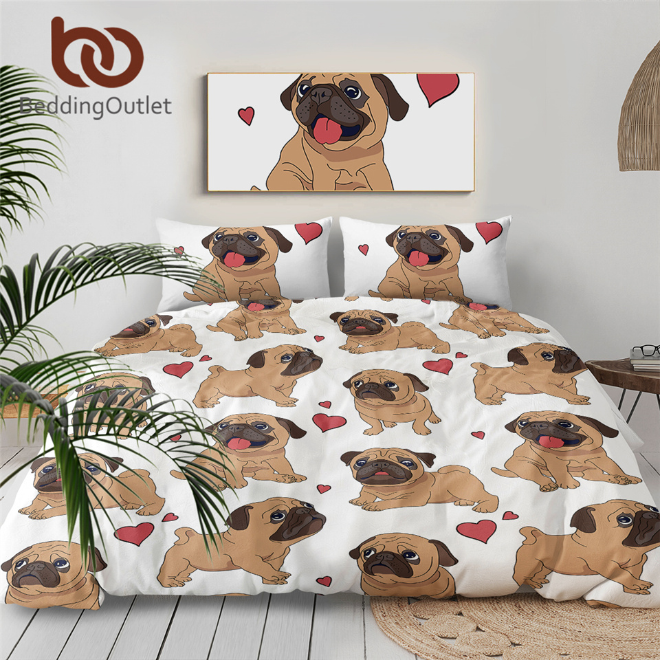 BeddingOutlet Hippie Pug Bedding Set Animal Dog Cat Bed Set For Kids Cartoon Cute Bulldog Duvet Cover 3D Print Bedclothes Queen