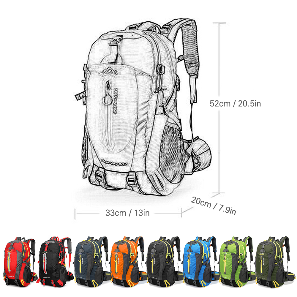 40L Waterproof Climbing Bag Travel Backpack Bike Bicycle Bag Camping Hike Laptop Daypack Rucksack Outdoor Men Women Sport Bags (2)