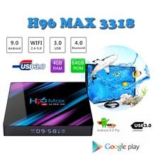 Android9.0 Google smart tv box H96 MAX Rockchip rk3318 4k HDMI 2.0 set top max 2.4G/5G Wifi Bluetooth4.0 support iptv