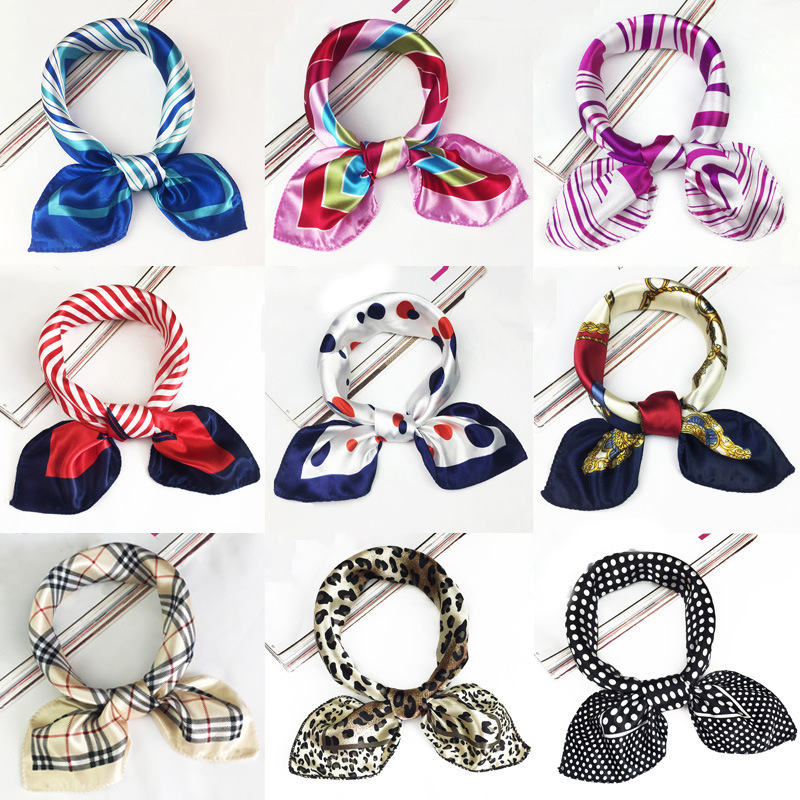 50*50cm 2019 New Fashion Silk   Scarf   Women Small Soft Squares Decorative Head   Scarf   Multicolor Stripe Print Kerchief Neck   Wrap