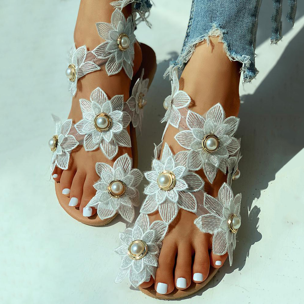 Women Leisure Sandals Bohemia Style Summer Shoes Beach Vacation Comfortable Flat Sandals Flower Sandals Open Toe Pearl Fashion