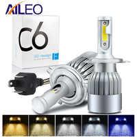 AILEO 8 color choice H4 LED H7 H11 H8 HB4 H1 H3 HB3 HIR2 H16 Auto C6 Car Headlight Bulb Car Styling 6500K 4300K 8000K automotivo