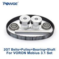 POWGE VORON Mobius 3,1 Set extruder TEILE TORE 188-2GT-6 Zahnriemen 20T 2GT pulley Schleifen flache Welle 5X 50mm Lager F695 2RS