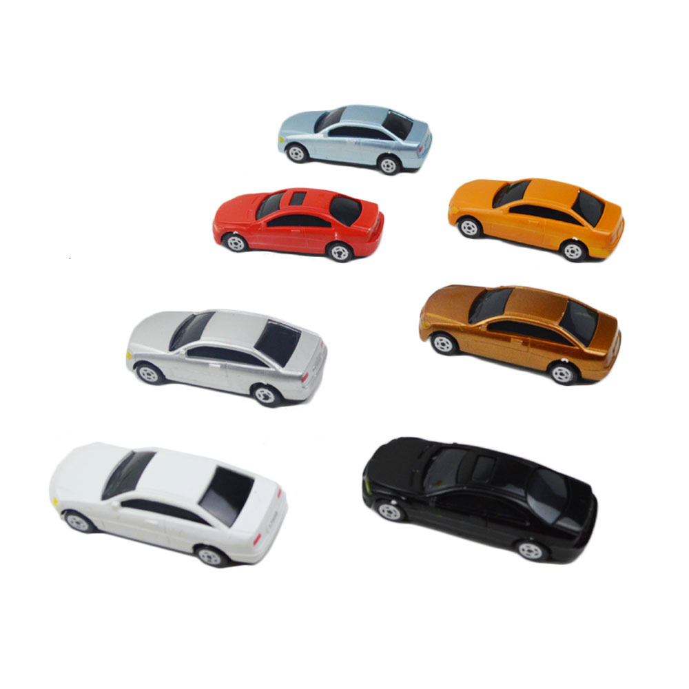 100pcs 1:100 Scale Painted Car Model Architecture Cars Toys Miniature Vehicles For Diorama Road Scene Layout Kits