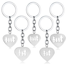 Family Members Keychain Dad Mom Son Daughter Stainless Steel Charms Love Heart Pendant Key Chains Rings Father Mother Presents(China)