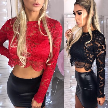 Crop Top Long Sleeve Lace Top Black Red Crop Top for Women Summer 2020 Tshirt Sexy T Shirt Donna Camisetas Mujer Tee Shirt Femme