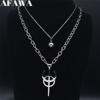 Stainless Steel Clavicula Nox Layered Chain Necklace Silver Color Punk Hidden Satanic Goetia symbol Shirt Patch Jewelry N4123S02 image