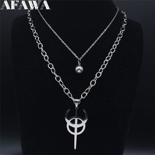 Stainless Steel Clavicula Nox Layered Chain Necklace Silver Color Punk Hidden Satanic