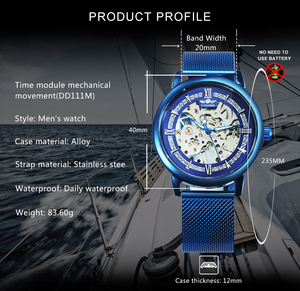 Image 2 - WINNER Official Mechanical Watch Men Blue Silver Mesh Strap Super Thin Case Skeleton Top Brand Luxury Classic Business Elegant