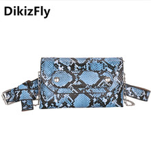 DikizFly 2019 New Waist Bags Women Luxury Serpentine Fanny Pack Female Small Belt Bag Wallet Packs Chest Phone Pouch