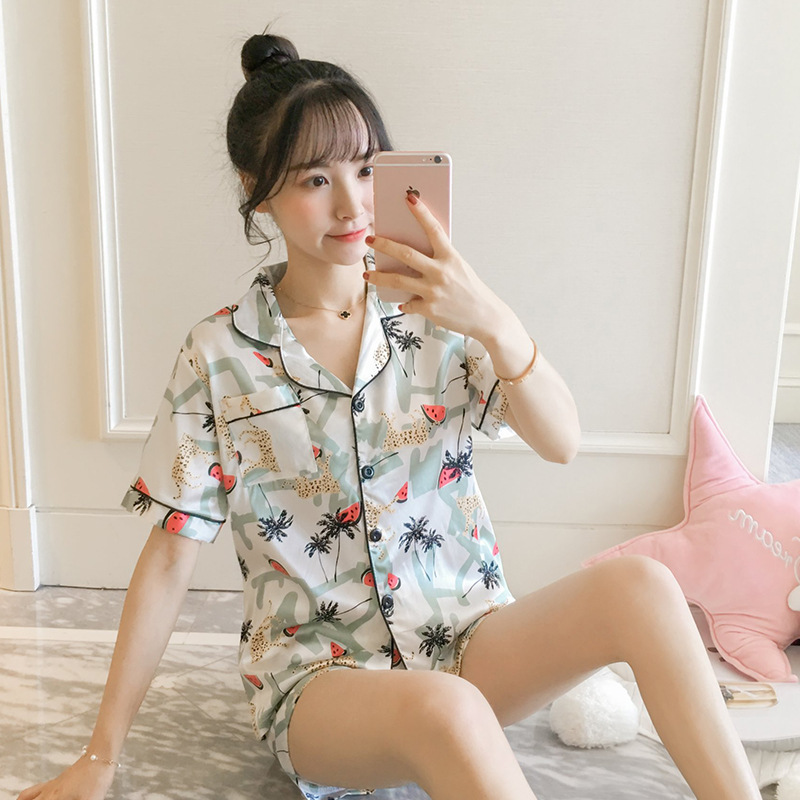 2019 Pajamas Women's Summer Viscose Short Sleeve Sexy Korean-style Summer Cardigan Model Silk Two-Piece Set Home Wear