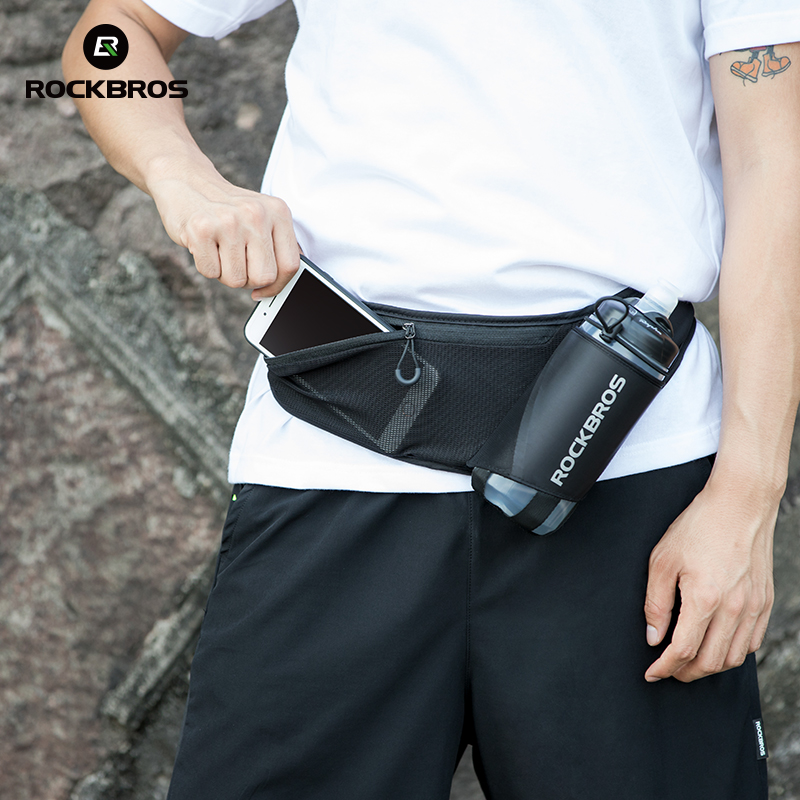 ROCKBROS Water Bottle Bag Cycling Running Hiking Kettle Bag Mobile Phone Pocket Change Bag Outdoor Sport Bicycle Accessories
