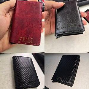 Image 3 - VM MODA BEIJO RFID Couro Genuíno Carteira Minimalista DIY Metal de Alumínio Seguro Id Titular Do Cartão de Crédito Da Bolsa Titular Do Cartão